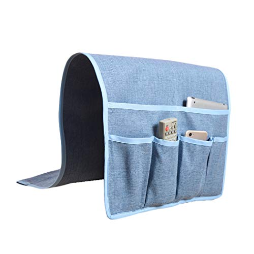 Kotile Non-Slip Couch Sofa Chair Armrest Organizer for Recliner - Elegant Armchair Caddy Fits Remote Control Holder, Cell Phone, Magazine Holder with 6 Pockets Faux Linen (Grey-blue)