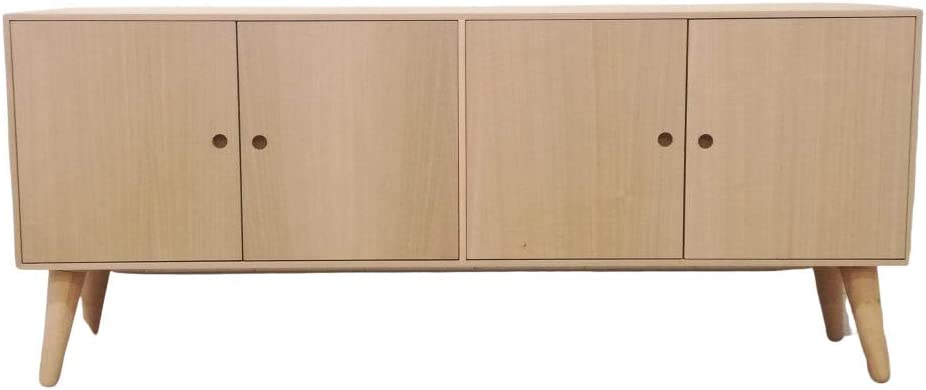 Aparador Retro 4 puertas. En madera de Castaño y Aliso. En crudo, se puede pintar. Medidas (ancho/fondo/alto): 140*30*60 cms. Cuatro puertas con uñero circular. Balda interior. Patas enroscables..: Amazon.es: Hogar