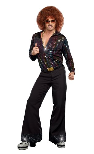 Womens Costumes For Men (Dreamgirl Men's Disco Dude Costume, Multi-Colored,)