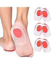 3 Pair Gel Heel Cups Plantar Fasciitis Inserts - Silicone Gel Heel Pads for Heel Pain, Bone Spur & Achilles Pain, Gel Heel Cushions and Cups, Pad & Shock Absorbing Support
