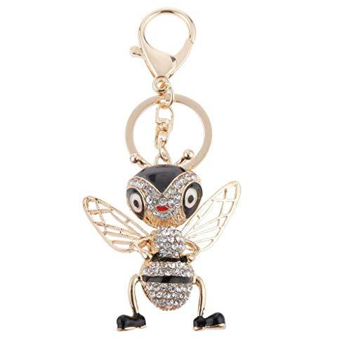 - NATFUR Rhinestone Crystal Bag Purse Pendant Keyring Keychain Car Key Hanger Cute Keyfob Elegant Pretty for Women for Men Holder Perfect | Model - Flying Bee Black