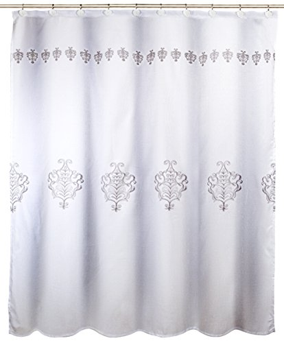 Vintage White Decorative Fabric Shower Curtain, Includes PEVA Shower Curtain Liner, Mildew Resistant, 72 x 72 inch, Polyester Soft Touch Waterproof Washable Bath Cloth Shower Curtains for Bathroom