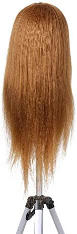 SILOLA Hairdresser Training Practice Head Mannequin Head Real Hair Cosmetology Doll Head Manikin Head Practice Dummy Head Blonde Silky Straight Hair Wigs For crafting DIY