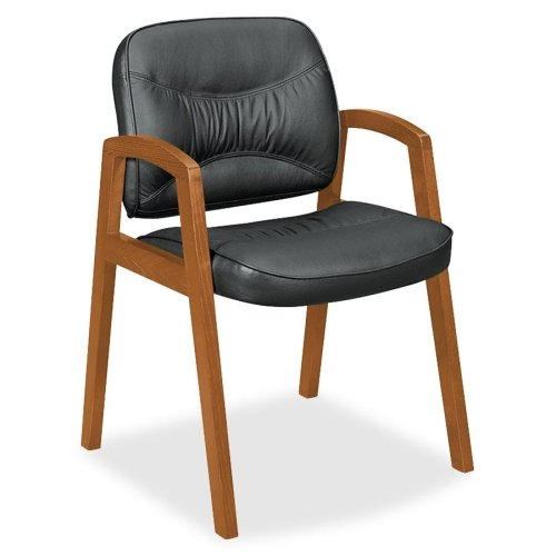 Basyx by HON VL803 Leather Guest Side Chair - Leather Black Seat - Wood Bourbon Cherry Frame - 24.5