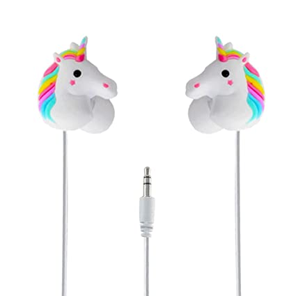 c02a780ae81 Amazon.com: Animal Earbuds with Lovely 3D Unicorn Cartoon, Moear in-Ear  Headphones Compatible with Most Smartphones and PC Small Earbuds for Small  Ears: ...