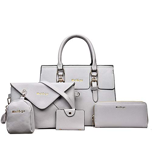 - 5-Piece Set Women's Designer Handbags And Purses Female Satchel Shoulder Bags Tote Bags Clutch Wallets (grey)