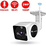 Luowice 2MP Wireless Security Camera with Intercom Function WiFi IP Camera 50ft Night Vision and Built-in 32G SD Card Indoor/Outdoor IP66 Waterproof 1080P