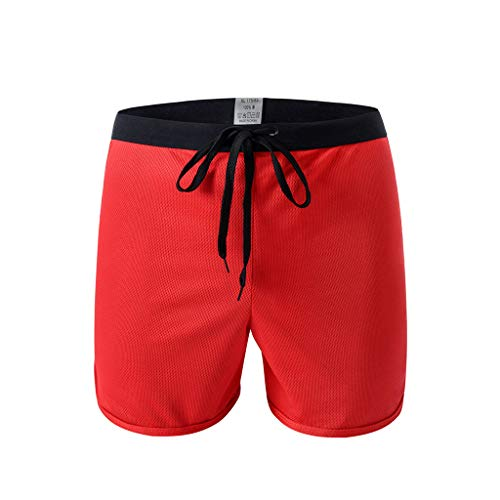 TIFENNY Men's Home Pants Sexy Soft Briefs Underpants Knickers Shorts Cotton Underwear Panty Red