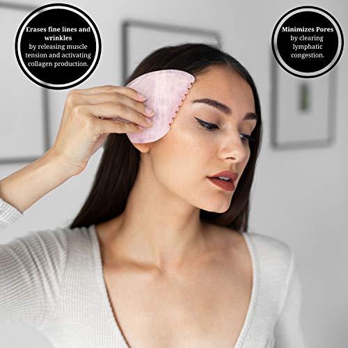 Brazilian Rose Quartz Gua Sha – Gua Sha Massage Tool for Face Eyes, Neck & Body – Genuine Rose Quartz Gua Sha Facial…