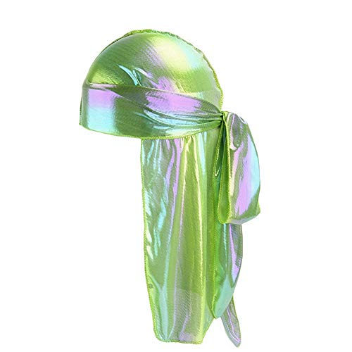 HADM Silky Durags for Men/Womens Waves Cap,Extra Long-Tail Holographic Headwraps for 360 Waves Green ()