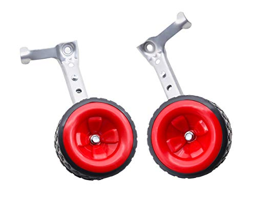 MOSHAY Bicycle Training Wheels Fits 16 18 20 22 24 inch Kids Variable Bike (D-Red)