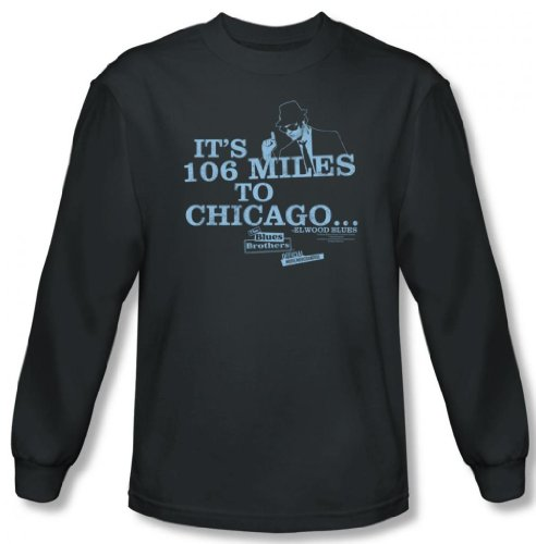 Blues Brothers - 106 Miles to Chicago Men's Long Sleeve T-Shirt, Charcoal, - Brothers Miles Blues To Chicago