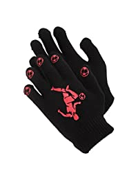 Childrens Boys Football Design Thermal Magic Gripper Gloves (One Size) (Black/Red)