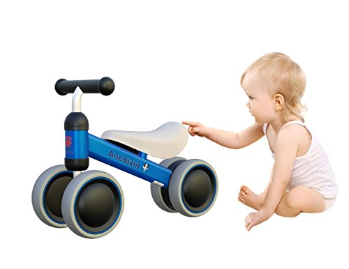 Ancaixin Blue Baby Balance Bikes Bicycle Children Walker 10-24 Months No Foot Pedal Infant Four Wheels First Bike