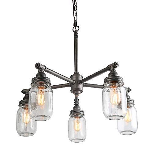 - LNC Glass Jar Chandeliers, 5-Light Silver Brushed Black Finish, Height Adjustable