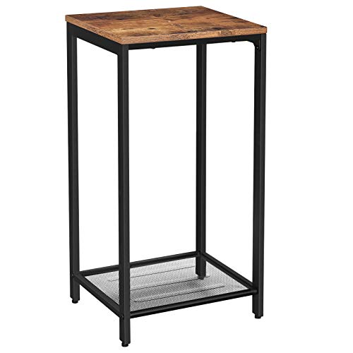 VASAGLE INDESTIC Side Table, End Table, Telephone Table with Mesh Shelf, High and Narrow, Hallway, Living Room, Metal, Easy Assembly, Space Saving, Industrial, Rustic Brown ULET76BX (Inn Tables)