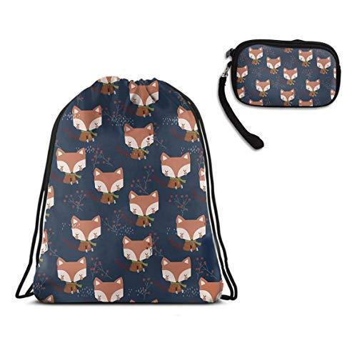 Travel Swim Drawstring Sack Shoulder Bags - Cute Fox Drawstring Rucksack, Large Lightweight Water Resistant Shoulder Backpack + Clutch Bag Handbag]()