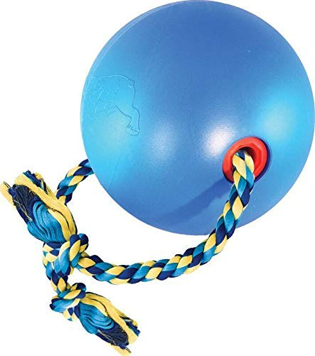 SPOT Tuggo Ball with Rope | Weighted Water-Filled Ball with Tug Rope Dog Toy | Red and Blue | for Small Medium & Large Pets (Medium (7 inch), Blue) ()