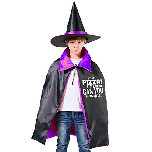 Little Monster I Hate Pizza Adult and Toddlers Halloween Costume Wizard Hat Cape -