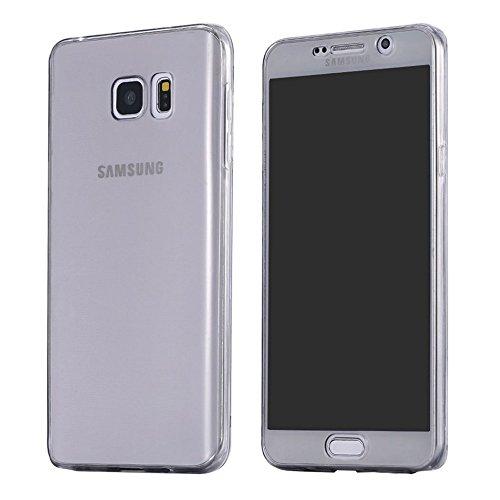 Full Cover Handy Hülle 360° Silikonhülle Vorne + Hinten von ZhinkArts für Samsung Galaxy S7 Anthrazit