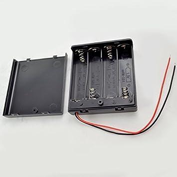 10pcs 4 x AA 2A Bateria De Soporte Para Caja 6V Case W/ lead ON/OFF Switch Enclosed Box Snap On: Amazon.es: Electrónica