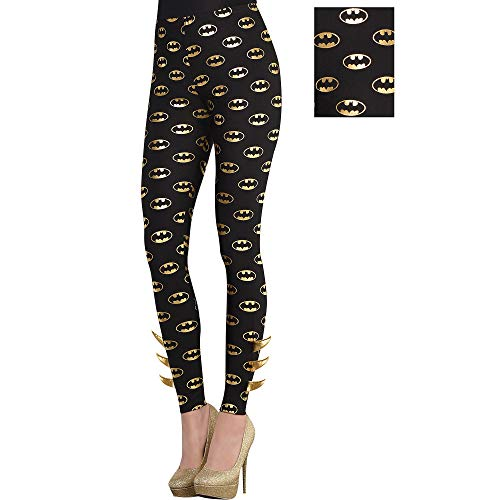 SUIT YOURSELF Batman Batgirl Leggings for Adults, Standard Size, Features a Metallic Gold Logos and Barbs at The Ankles -