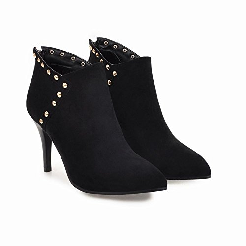 Charm Womens Boots Heel Rivet Foot Zipper Pointed Black Fashion Toe High Ankle rr5Zvqw
