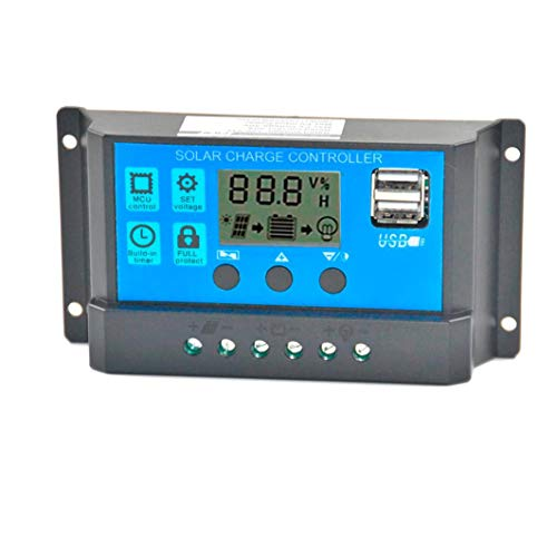 Vanvler Solar Panel Regulator Charge Controller USB 12V-24V with Dual USB Charger (60A, Blue)