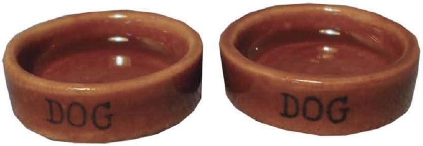 Melody Jane Dollhouse 2 Stone Dog Food Bowl Water Dish Miniature Pet Accessory 1:12 Scale