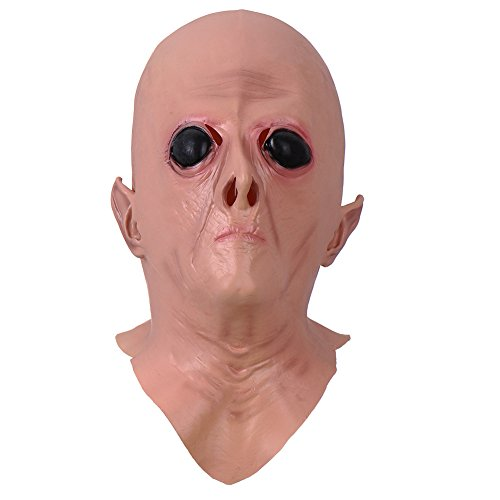 Realistic Alien UFO Full Head Mask Creepy ET Latex Headgear Halloween Costume Party Cosplay Pro (Haunted Night Deluxe Party Supplies)