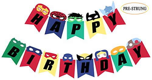 Pre Strung Superhero Inspired Birthday Banner, Happy Bday Sign Party Decorations]()