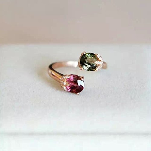 1.9 Carat Tourmaline And Rhodolite Garnet Engagement Ring In 14K White Gold