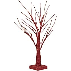 Bolylight LED Bling Bling Birch Night Light Table Tree Lamp Jewelry Holder Centerpiece 17.71 inch 24L Great Decoration for Home/Christmas/Party/Festival/Wedding, Warm White, Red