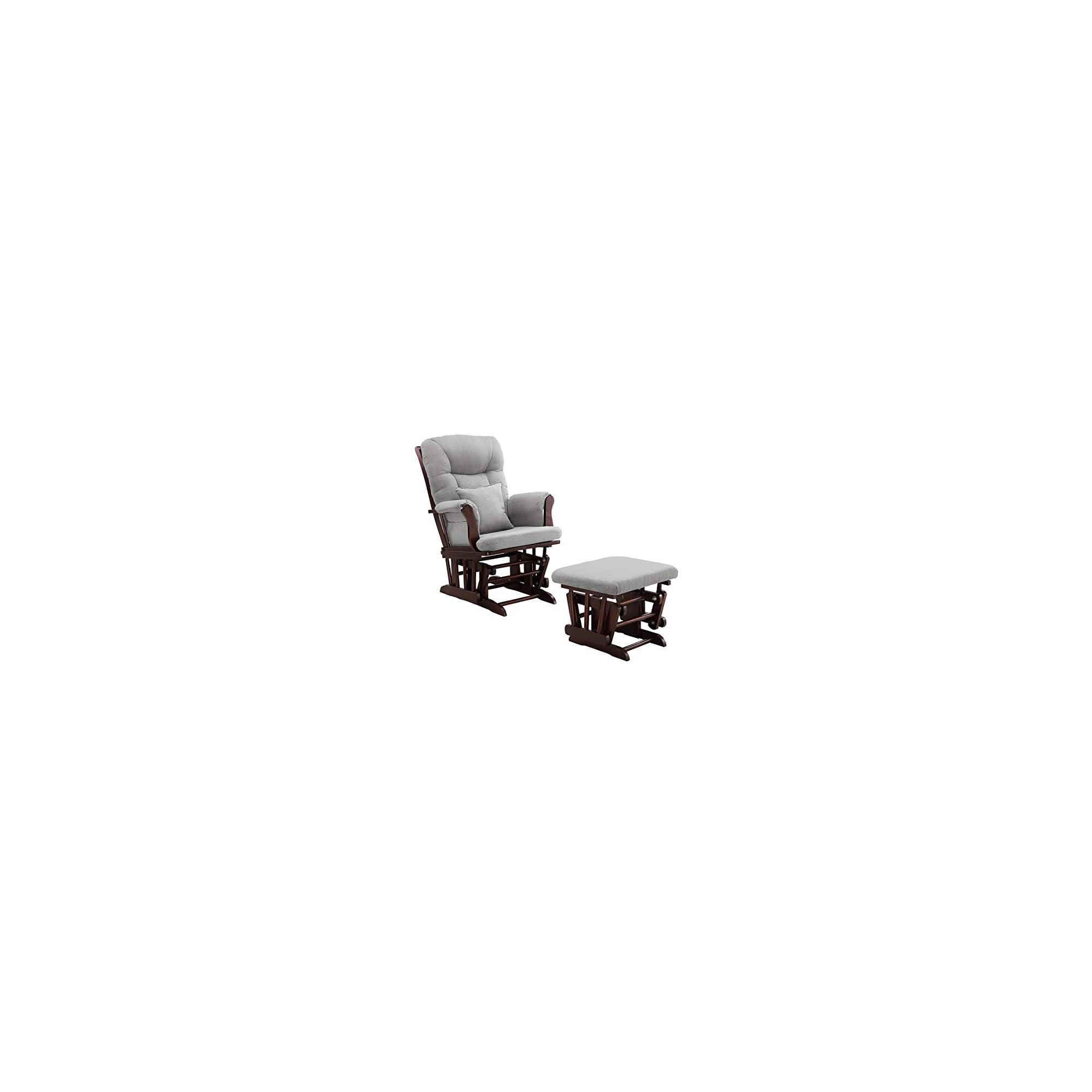 Angel Line Monterey Glider and Ottoman Cushion, Espresso/Grey