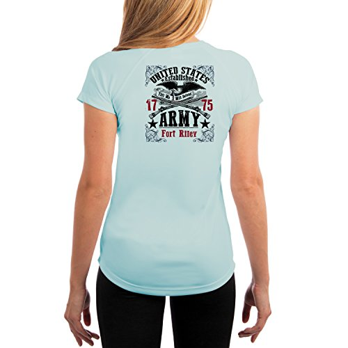 Fort Riley Army Base (Dead Or Alive Clothing U.S. Army Fort Riley Women's UPF 50+ Short Sleeve T-Shirt XX-Large Arctic Blue)