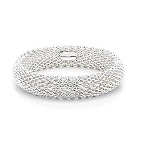 Sterling Silver Mesh Bracelet (Sephla 925 Sterling Silver Plated Silky Chains Mesh Bracelet for Women (Medium))