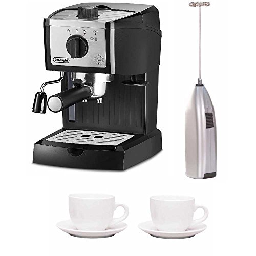 De'Longhi EC155M 15 Bar Pump Espresso and Cappuccino Maker Bundle with Espresso Cup and Saucer and Handheld Milk Frother