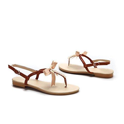 Toe Strap Scarpe Stile Marrone Ragazze Donne Estate Perline Sandali Con Dolce Spiaggia Minetom Peep Pantofole Bowknot PzHqwn
