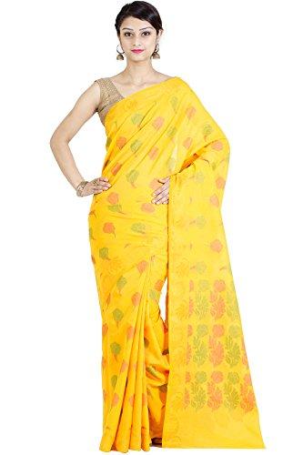 Chandrakala Women's Yellow Cotton Blend Banarasi Saree,Free Size(1104YEL)