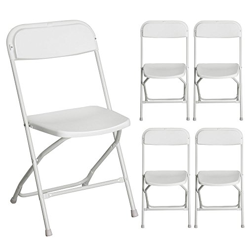 Oshion 5 Pcs Commercial White Plastic Folding Chairs Stackable Wedding Party Event Chair