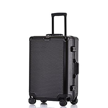 Image of Aluminum Frame Carry On, Durable PC Hardshell TSA Lock Luggage Suitcase with Spinner Wheels 20 Inch Black Luggage