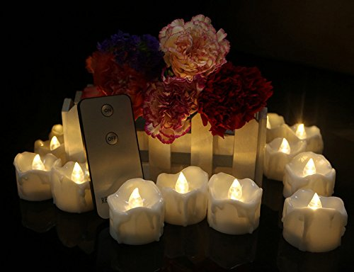 12pcs Warm White Battery Operated Tea Lights with Remote Control Electric Flameless Votive Candles for Birthday Party Wall Sconces Fireplace Church Service