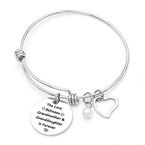Sunflower Jewellery Charm Bracelet Adjustable Bangle Gift for Women Girl Sister Mother Friends (The Love Between Grandmother & Granddaughter is Forever)