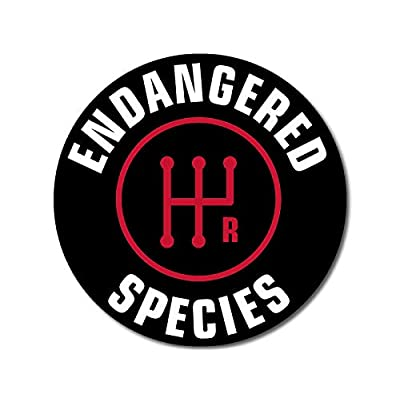 American Vinyl Round Stick Shift Endangered Species Sticker (Detroit car Drive Manual Gear): Automotive