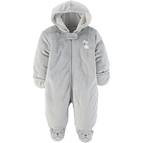 Child of Mine Carters Baby Prams, Puffers and Car Bag Snowsuits For Baby Girl and Boy (3-6 Month, Grey Dog) Baby Boy Snowsuit