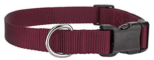 Country Brook DesignDeluxe Nylon Dog Collar - Burgundy - Small