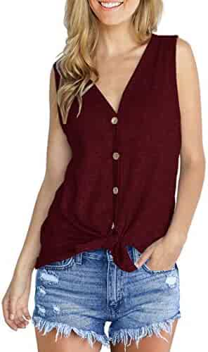 IWOLLENCE Womens Waffle Knit Tunic Blouse Tie Knot Henley Tops Loose Fitting Plain Shirts