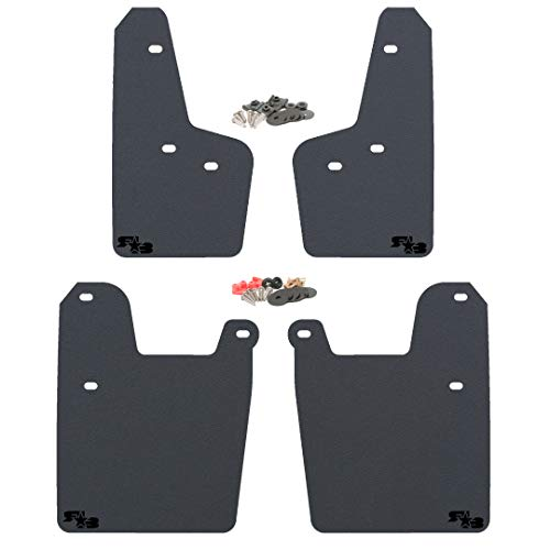 (RokBlokz Mud Flaps for 2019 + Subaru Forester - Multiple Colors Available - Mud Guards are Custom Cut and Fit - Includes All Mounting Hardware (Black with Black Logo))