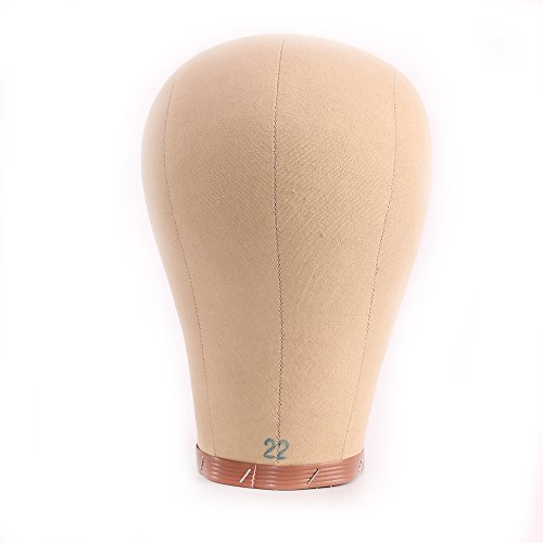 "Price comparison product image HAIREALM 22"" Mannequin Head Wig Making Head Cork Canvas Head Wig Display With Mount Hole FBT01P"