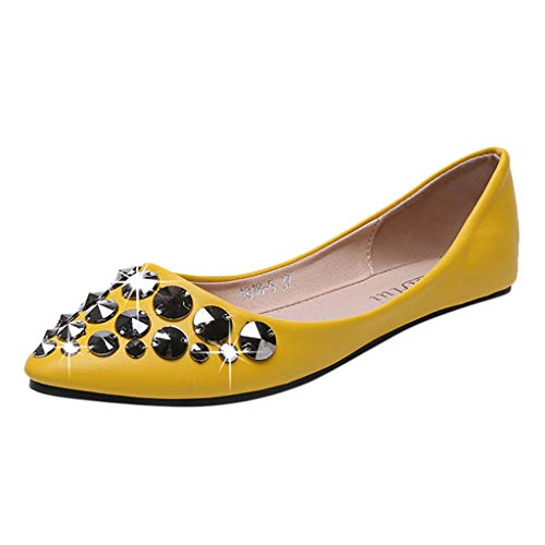 HHei_K Women Fashion Pointed Toe Shallow Mouth Flat Pumps Single Shoes Casual Crystal Flat Loafers Shoes Yellow